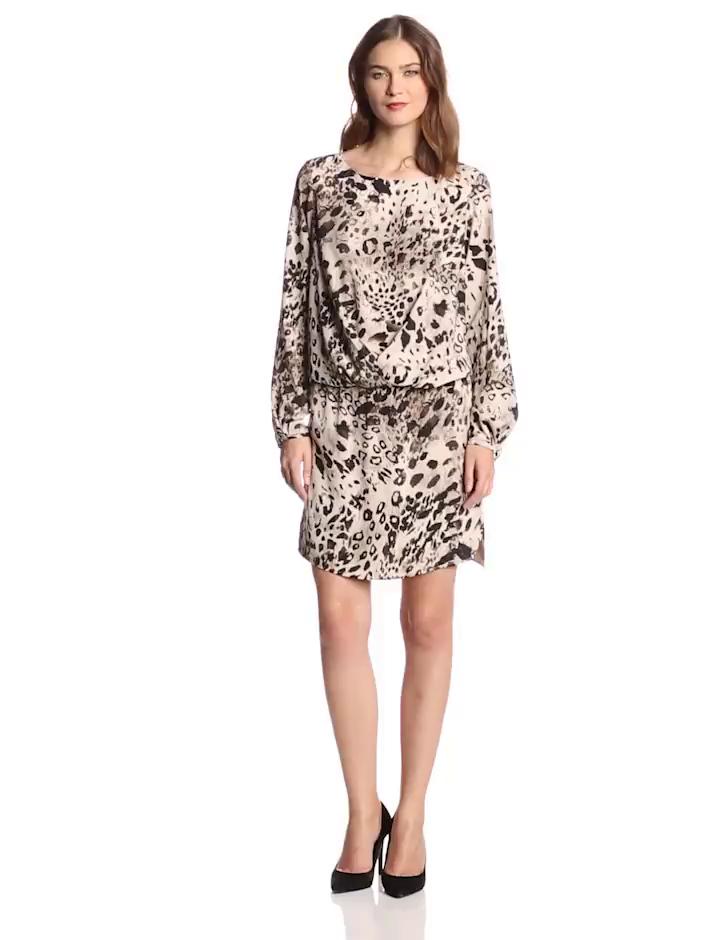 Vince Camuto Women's Long Sleeve Animal Fresco Center Fold Dress, Rich Black, Large