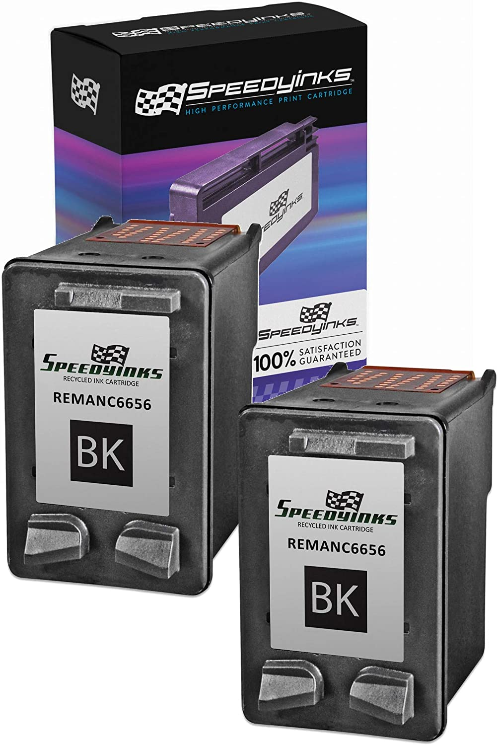 Speedy Inks Remanufactured Ink Cartridge Replacement for HP 56 (Black, 2-Pack)