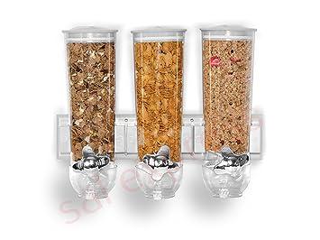 SaleemSpace - Dispensador / unidad de almacenamiento triple de cereales y alimentos secos, para montar en la pared: Amazon.es: Productos para mascotas