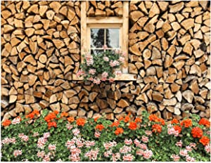 AIIKES 7x5FT Spring Garden Background Green Grass Wood House Photography Background Flowers Background Video Conference Background Family Party Decoration Background Family Photography Props 12-047