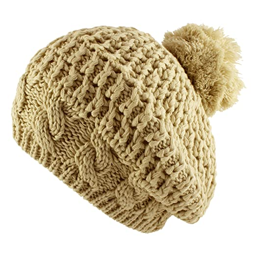 115ae170ef9 Morehats Thick Crochet Knit Pom Pom Beret Winter Ski Hat - Beige at ...