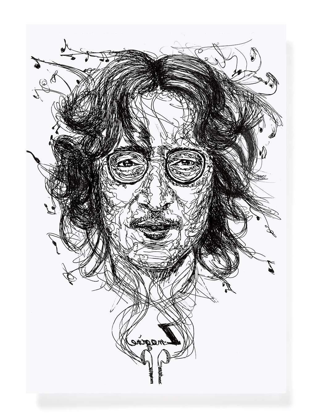 Amazon com christmas gift for music lover miss you john lennon portrait drawing a4 decor print black and white art beatles art wall decor