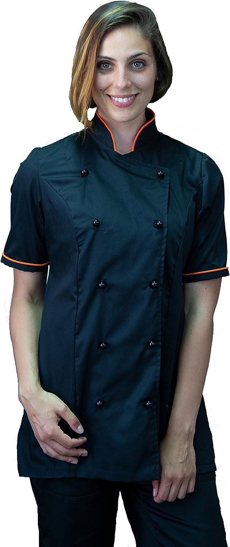 Made in Italy Casacca Chef Bianca e Nero Gessato Giacca Cuoco da Cucina tessile astorino Ricamo Gratuito