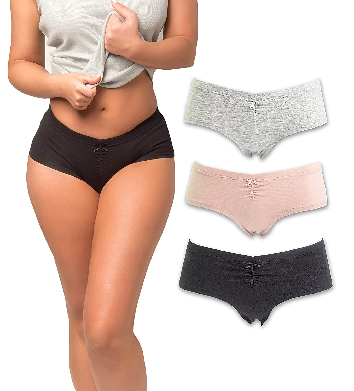 f1f635d1634 Emprella Women s Boyshort Panties Comfort Ultra-Soft Cotton Underwear  (3-Pack)