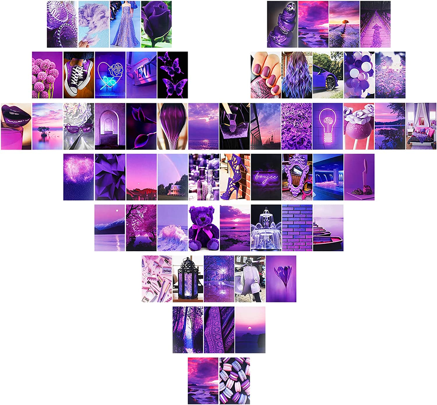 Aesthetic Room Decor, 60 pcs Room Decor for Teen Girls Collage Kits Wall Art Photos with Stickers Purple Indie Room Decor for Bedroom, Home, Kitchen, Office