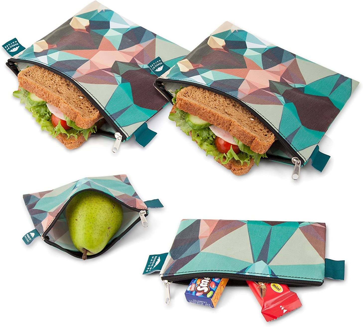 Nordic By Nature 4 Pack - Reusable Sandwich Bags Dishwasher Safe BPA Free - Durable Washable Quick Dry Cloth Baggies -Reusable Snack Bags for Kids School Lunches - Easy Open Zipper - (Mosaic Camo)