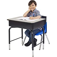 """ECR4Kids ELR-24103F-GY 24"""" x 18"""" Adjustable Open Front Student Desk with Metal Book Box, Grey and Black"""