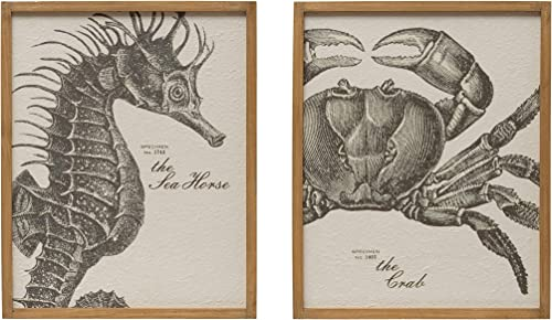 Creative Co-op Sea Horse The Crab Wood Framed Set of 2 Styles Wall D cor