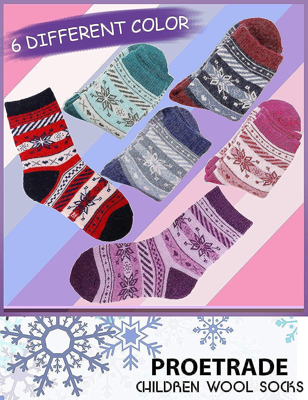 ProEtrade Chaussettes en laine pour enfants 6 paires Petits gar/çons tout-petits filles flocon de neige hiver chaussettes chaudes