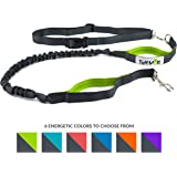 """Tuff Mutt - Hands Free Dog Leash for Running, Walking, Hiking, Durable Dual-Handle Bungee Leash, Reflective Stitching, 4-Foot Long, Adjustable Waist Belt (Fits up to 42"""" waist)"""