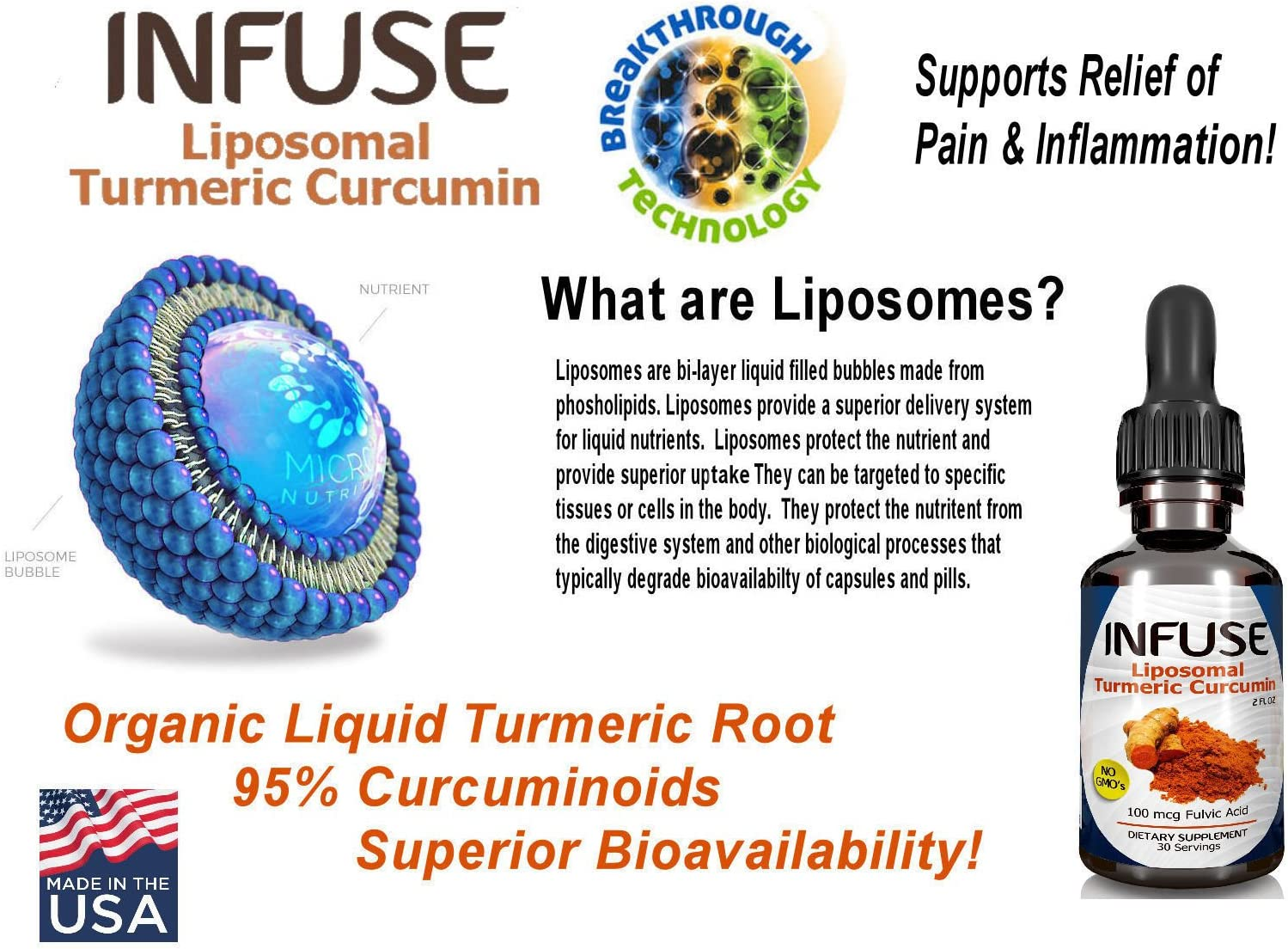 Infuse Liposomal Liquid Turmeric Curcumin Liquid 4 Bottle Pack Superior Absorption 95 Curcumin High Potency Organic Joint Pain Inflammation Relief with Fulvic Acid MFD USA