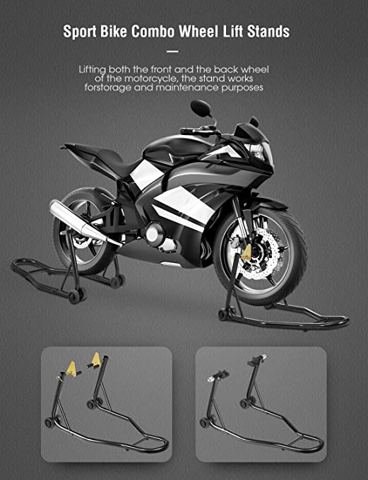 Universal Sport Auto Bike Motorcycle Front /& Rear Combo Wheel Lift Stand Swingarm Paddock Fork Stands Fits Yamaha Honda Kawasaki BMW