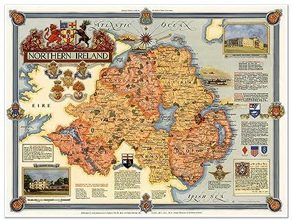 Map Of Ireland 32.Amazon Com Map Of Northern Ireland Circa 1947 Measures 32 Wide X