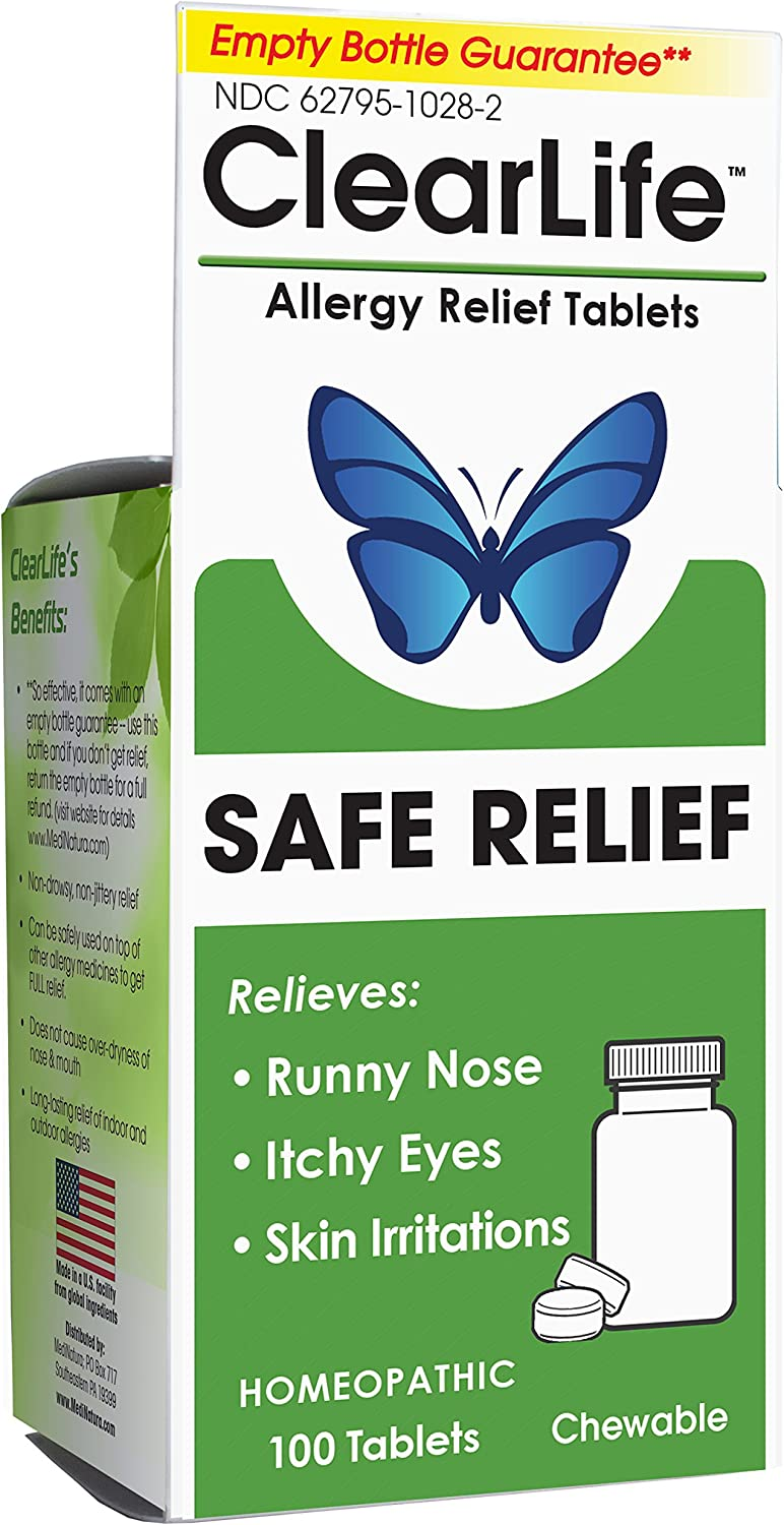 MediNatura ClearLife Natural Allergy Relief - Safe, Non-drowsy Relief in Any Region - 100 Tablets
