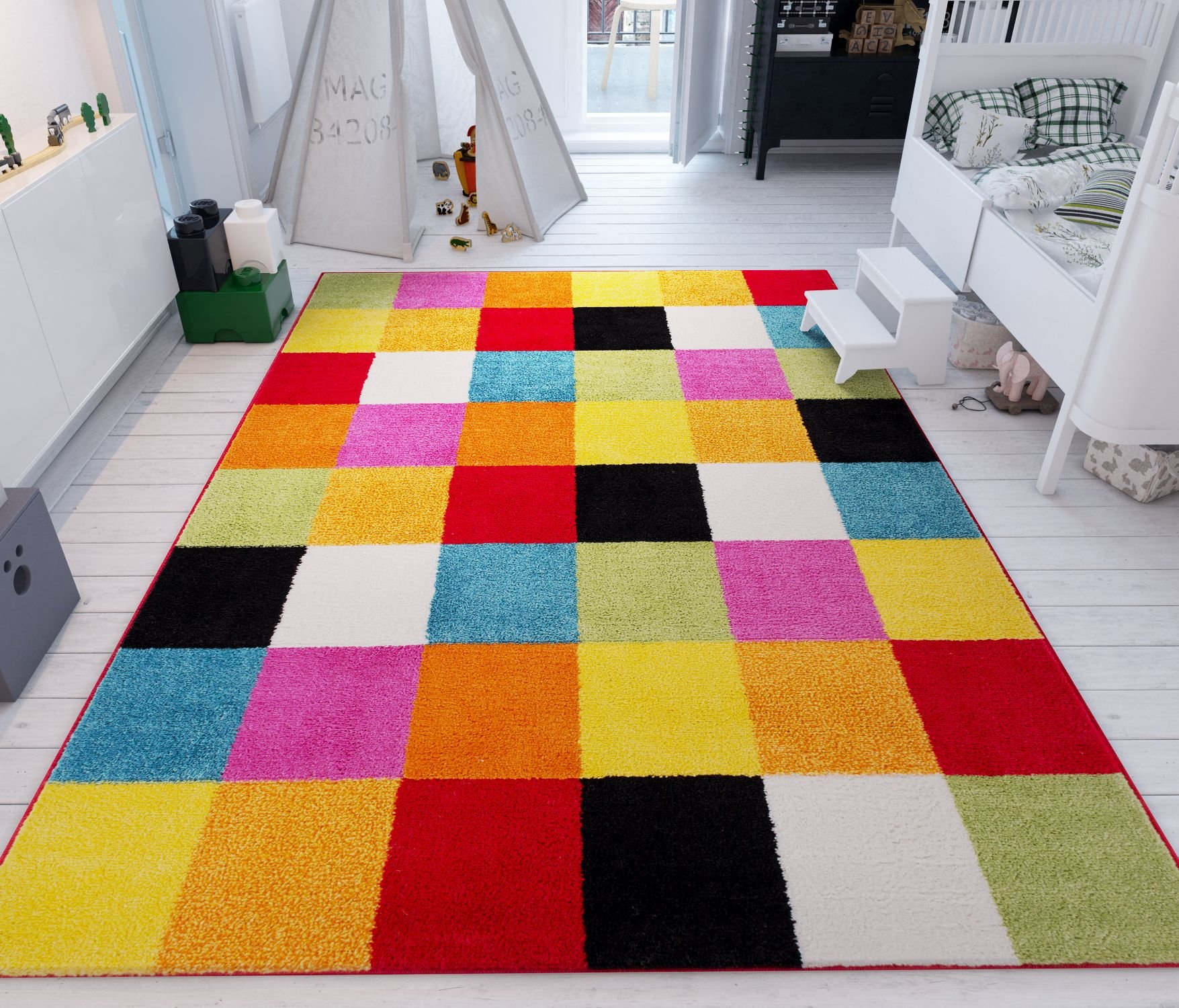 Modern Squares Multi Geometric Area Rug 8x10 ( 7'10'' x 10'6'' ) Abstract Checkerborad Boxes Bright Living Kid RoomPlayroom Nursery Bedroom Carpet Soft Durable Stain Fade Resistant Shed Free Easy Clean