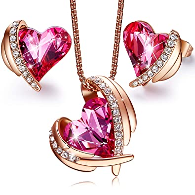 """1c00050b8 CDE """"Pink Angel 18K Rose Gold Plated Jewelry Set Women Heart Pendant  Necklaces and"""