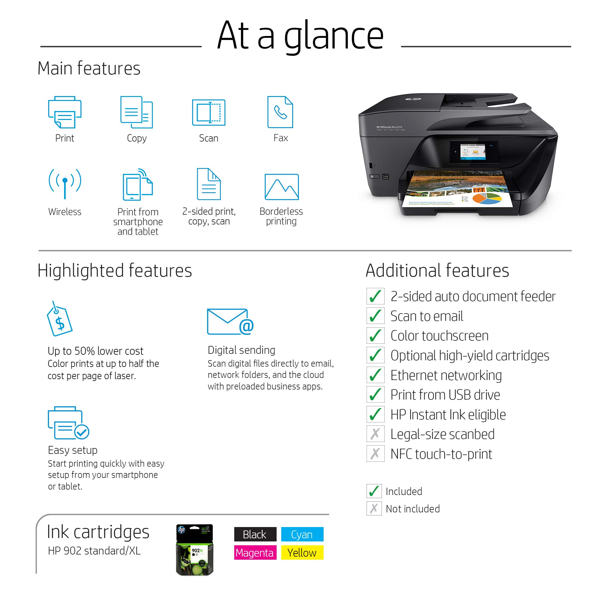 Hp Officejet Pro 6978 Wireless All In One Photo Printer With Mobile Printing Instant Ink Ready T0f29a Yy Zone