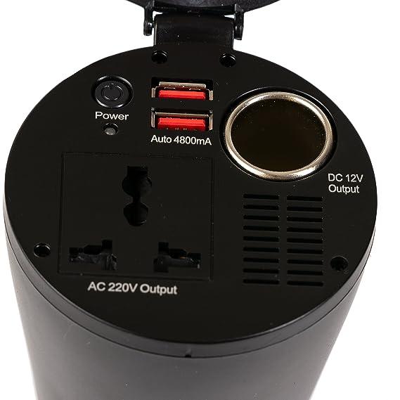 Amazon.es: Transformadore de corrienteportavasos; inversor DC 12V a CA 230 V, convertidor de Voltaje, Toma Internacional Universal, se Adapta a Cualquier ...