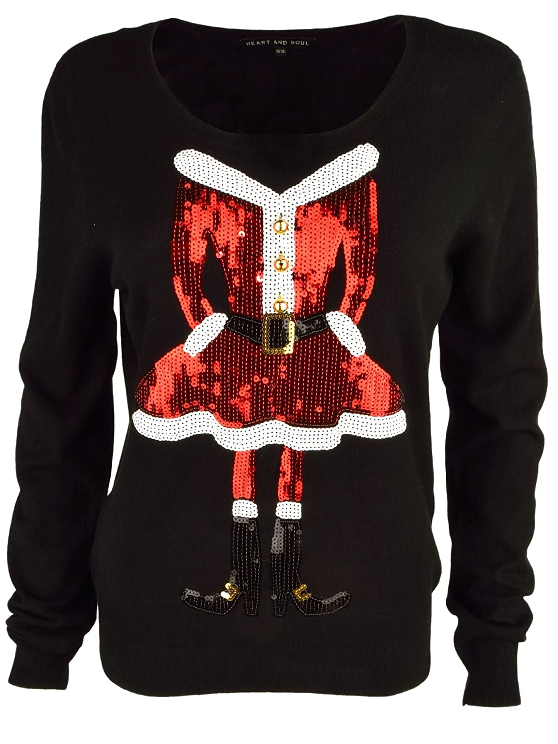 cc2649babc9 Heart & Soul Women's 'Miss Claus' Funny Sequin Motif Knitted Christmas  Jumper Top