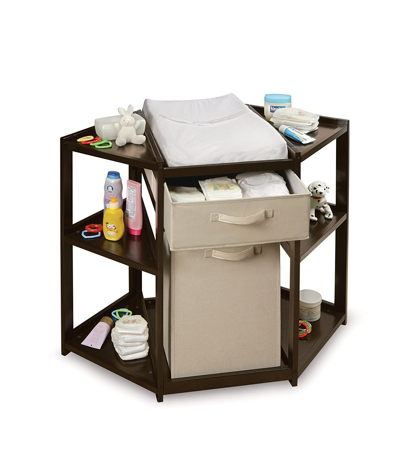 Amazon.com : Badger Basket Baby Changing Table With Hamper And Basket,  Espresso : Corner Changing Table : Baby
