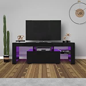 WERSMT LED TV Stand, Black Entertainment Center with Storage and LED Lights for 60in, Large Size 51