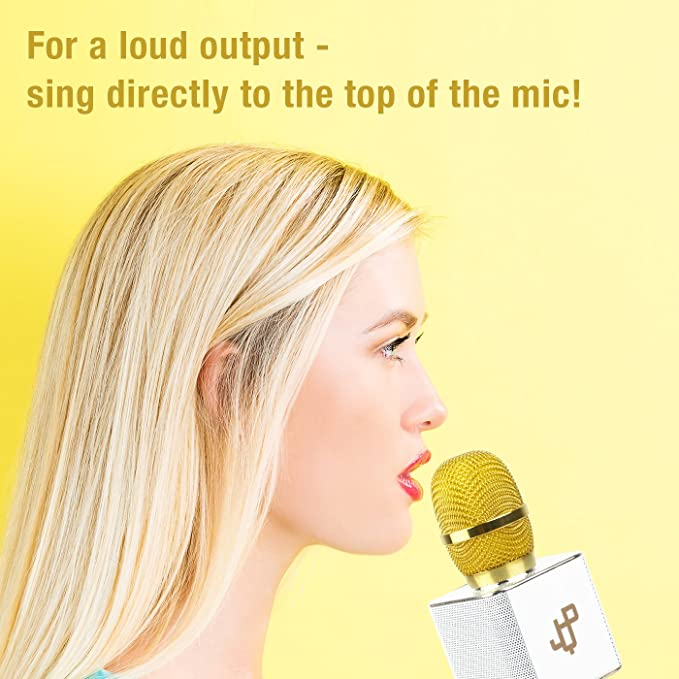 cf18b91c89bf Amazon.com  2 Mics In 1 Set Karaoke Microphone Wireless Handheld Mic  Bluetooth Speaker for Apple iPhone Android Samsung Smartphone iPad PC Smart  TV Home KTV ...