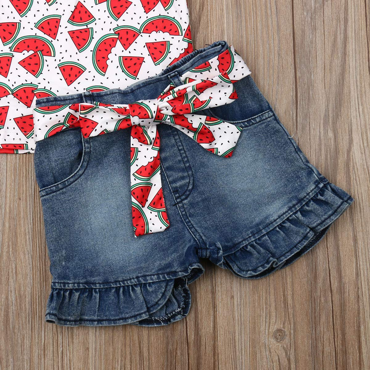 Baby Little Girls Denim Shorts Set Fly Sleeve Watermelon or Flamingo Tops+Denim Jean Short+Sash Outfits Set 1-6Y
