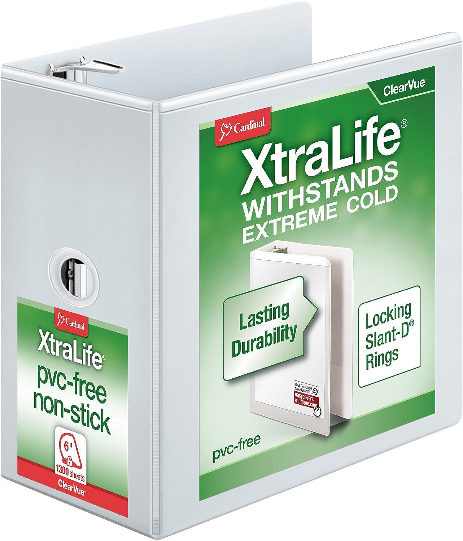"Cardinal XtraLife 3-Ring Binder, 6"", w/ Shelf Pull, Locking Slant-D Rings, ClearVue Presentation Binder, Holds 1,300 Sheets, PVC-Free, White (26360)"