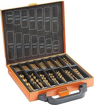 VonHaus. Set universal de 99 piezas de brocas de taladro HSS con revestimiento de titanio y estuche para cargar de 1,5 a 10 mm.: Amazon.es: Bricolaje y herramientas