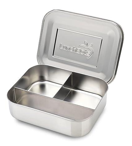 LunchBots Trío: Envase de comida de acero inoxidable. Diseño de tres secciones perfecto para refrigerios saludables, acompañamientos laterales o ...