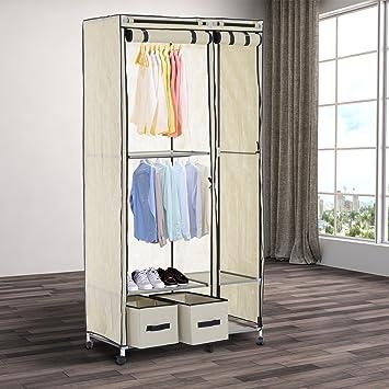Schrank faltbar Stoff Kleiderschrank mit Rollen Organizer Garderobe ...