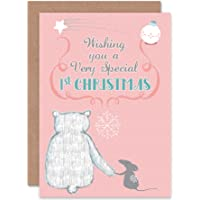 Card Christmas Baby First Mouse Bear Cute Special Pink