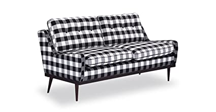 Kardiel Elektra Midcentury Modern Loveseat, Windowpane Plaid