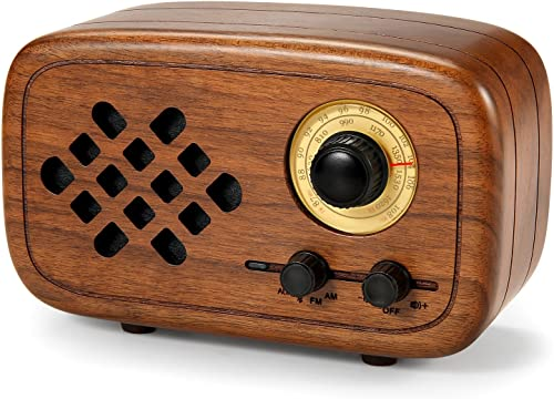 Rerii Handmade Walnut Wood Portable Bluetooth Speaker, Bluetooth 4.0 Wireless Speakers with Radio FM AM, Nature Wood Home Audio Bluetooth Speakers with Super Bass and Subwoofer