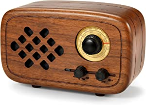 Rerii Retro Bluetooth Speaker, Handmade Walnut Wood Vintage Small Bluetooth Radio FM AM, Portable Wireless Speakers for Home and Office