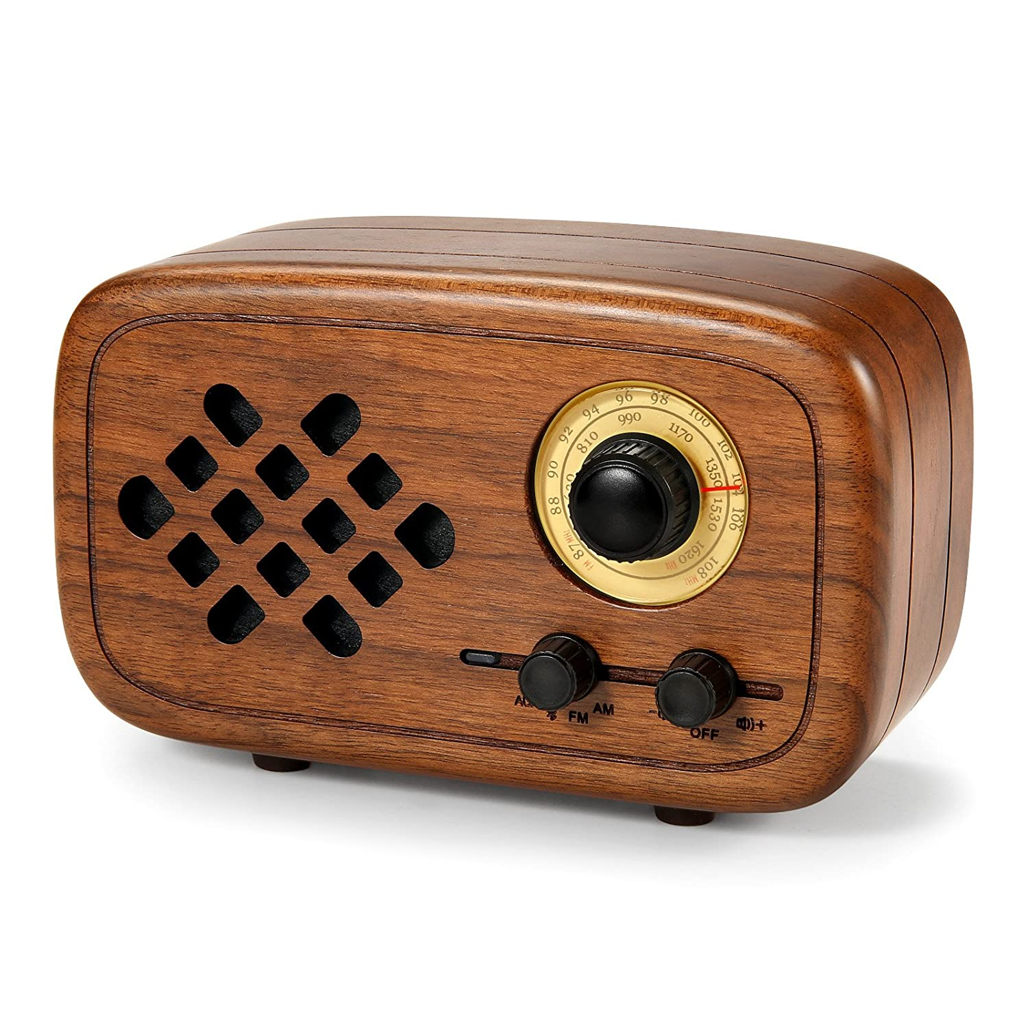 Rerii Handmade Walnut Wood Portable Bluetooth Speaker, Bluetooth 4.0 Wireless Speakers with Radio FM/AM, Nature Wood Home Audio Bluetooth Speakers with Super Bass and Subwoofer RW-01