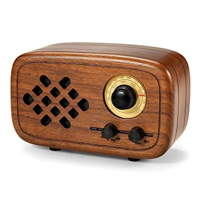 Rerii Handmade Walnut Wood Portable Bluetooth Wireless Speakers with Radio