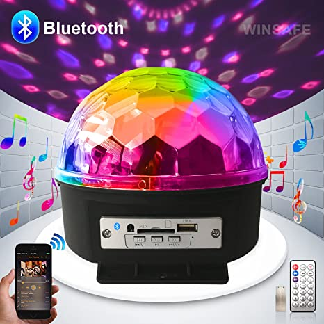 disco ball dj lights disco lights strobe lamp play music 9 color led bluetooth stage lights