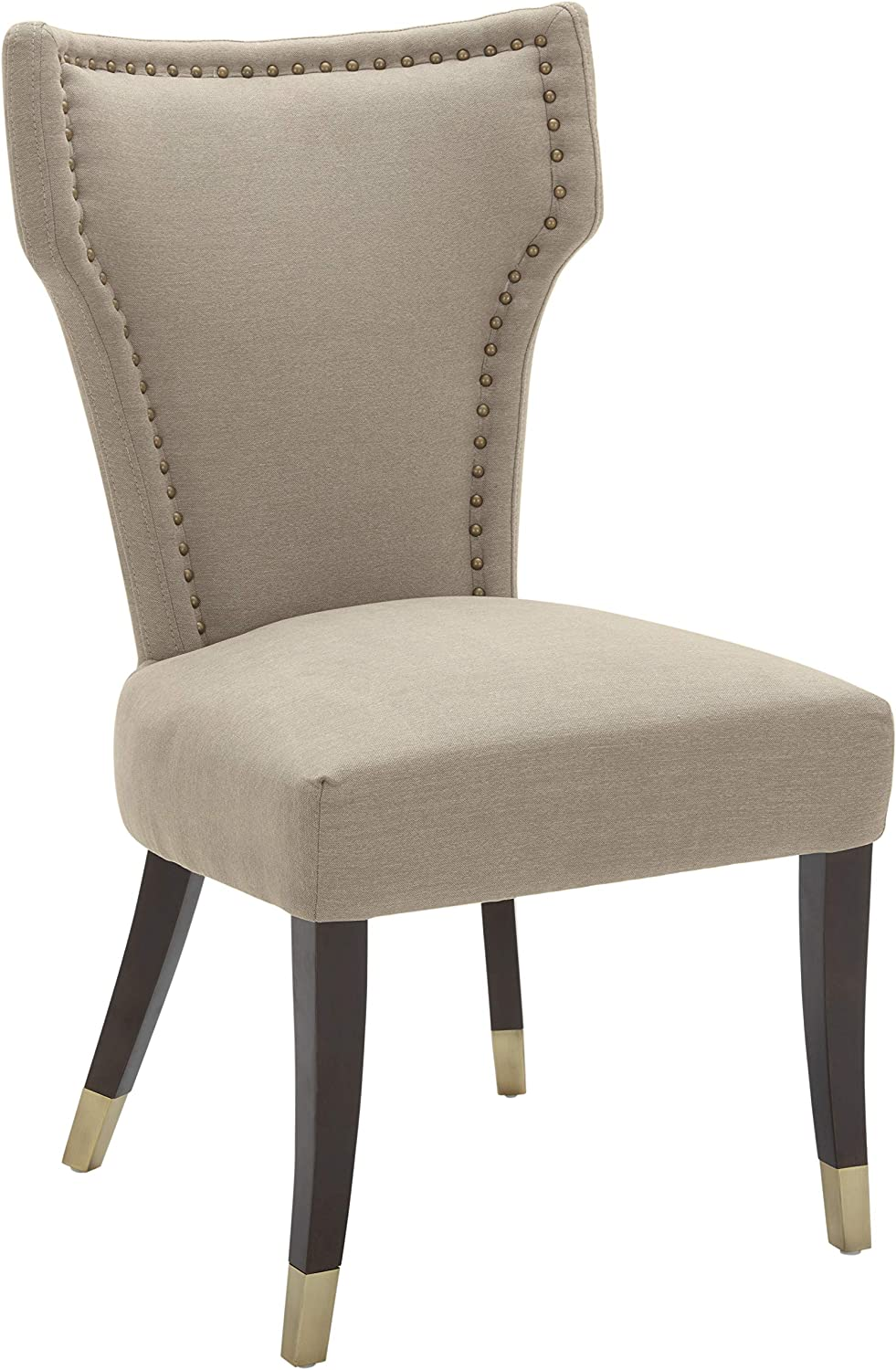 """Stone & Beam Dining Chair with Brushed-Brass Nailhead Trim, 39""""H, Fawn (Pack of 2)"""