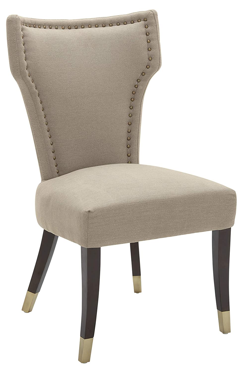 Stone Beam Dining Chair with Brushed-Brass Nailhead Trim, 39 H, Fawn Pack of 2