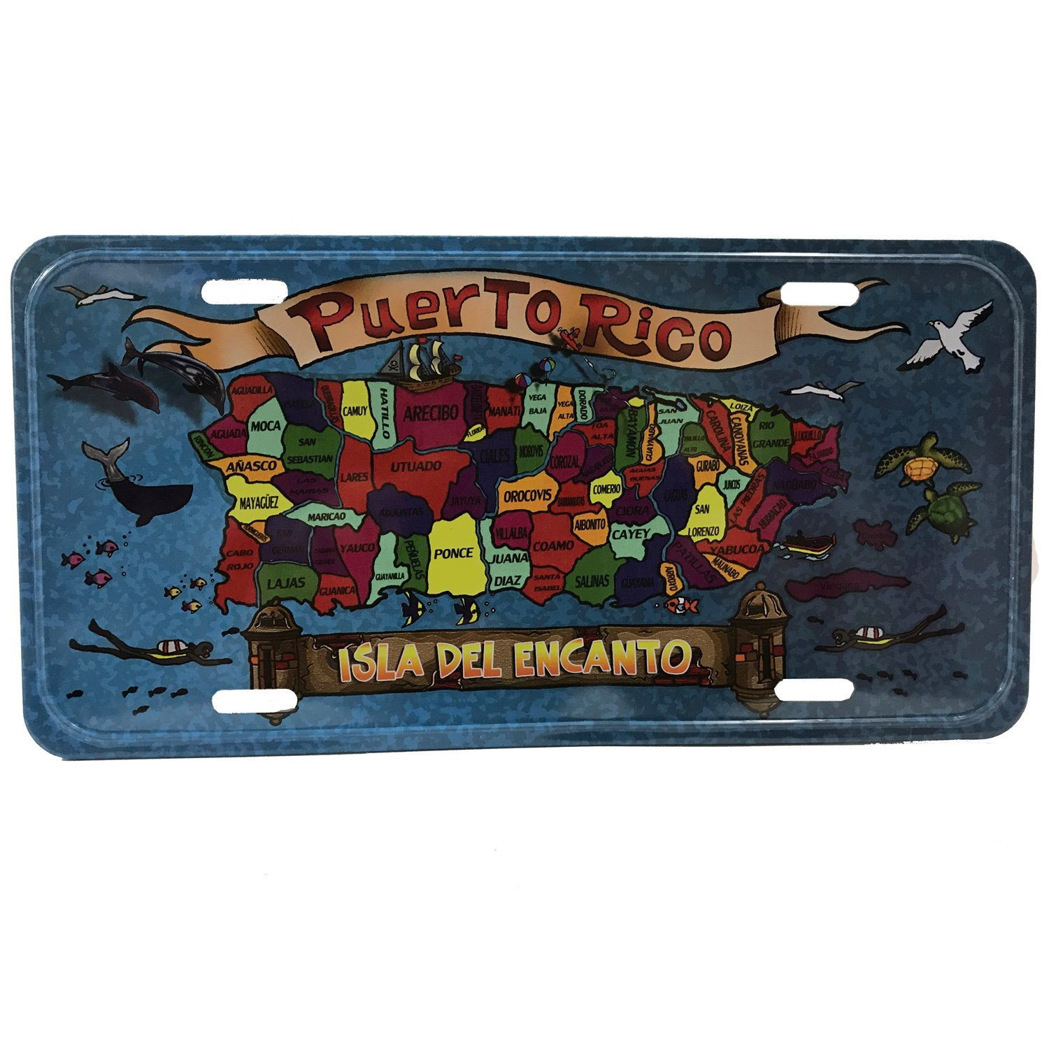 ARECIBO PUERTO RICO STATE FLAG BACKGROUND NOVELTY METAL LICENSE PLATE TAG