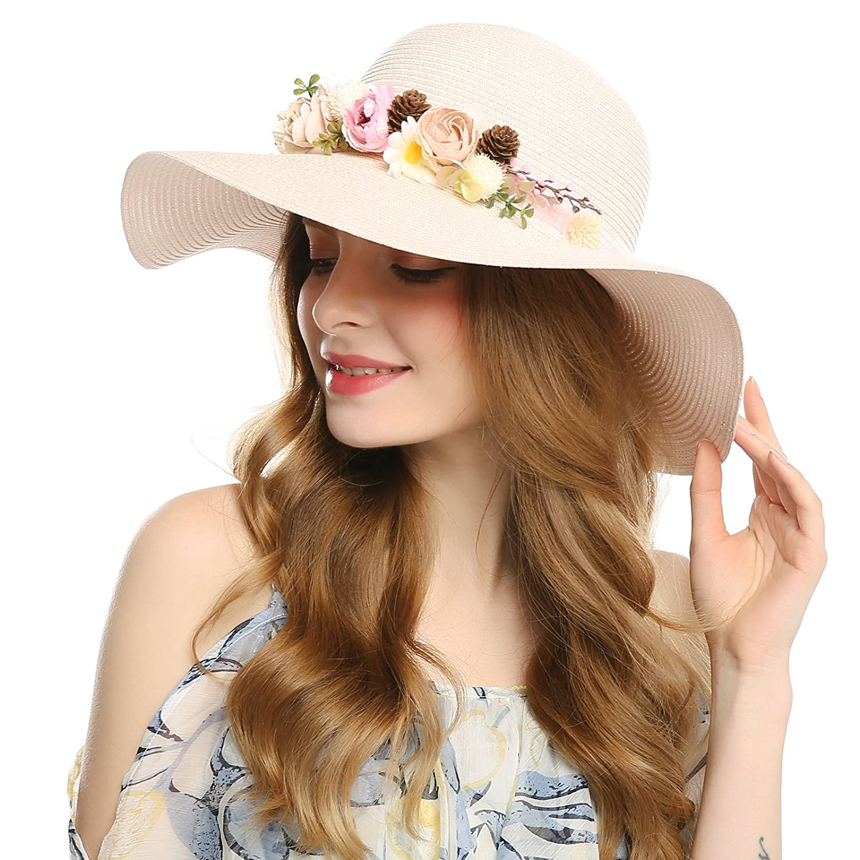 182bb8ee98f WELROG Women Race Hats Kentucky Derby Dress Church Wedding Cap Sweet Cute  Floral (Pink) at Amazon Women s Clothing store