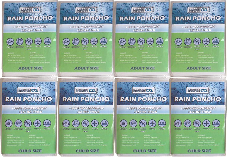 Poncho Family Pack trasparente include 4 adulti 8 poncho spesso usa e getta trasparente uomini e donne e 4 poncho per bambini con cappucci