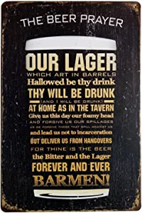 ARTCLUB The Beer Prayer Our Lager Drink Drunk Barman, Fun Saying Metal Tin Sign, Antique Plaque Rustic Poster Bar Home Wall Decor