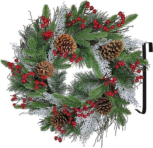 """Berries Pine Cones 22/"""" Large Christmas Wreath Decoration//Door Artificial Snow"""