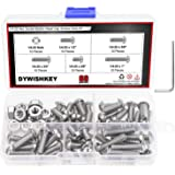 """DYWISHKEY 60 Pieces 1/4-20 x 3/8"""" 1/2"""" 5/8"""" 3/4"""" 1"""" Stainless Steel 304 UNC Threads Hex Button Head Cap Screws Bolts and…"""