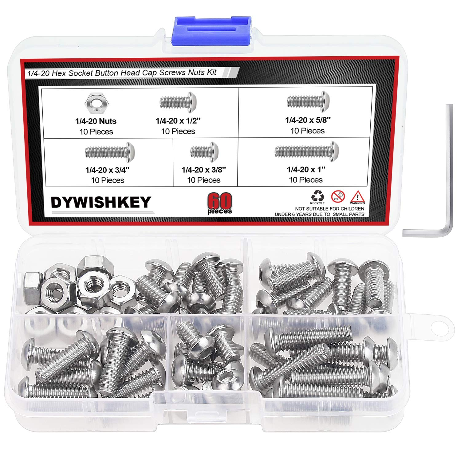 """DYWISHKEY 60 Pieces 1/4-20 x 3/8"""" 1/2"""" 5/8"""" 3/4"""" 1"""" Stainless Steel 304 UNC Threads Hex Button Head Cap Screws Bolts and Nuts Assortment Kit with Hex Wrench"""