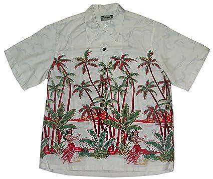 ef33dd440 Paradise Found Kamehameha Style - Hula Girl Palm Men's Hawaiian Aloha Retro  Vintage Rayon Shirt in