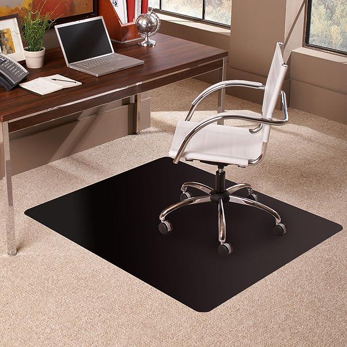 """ES Robbins 128013 Carpet Chair Mat, 36"""" x 48"""", Black"""