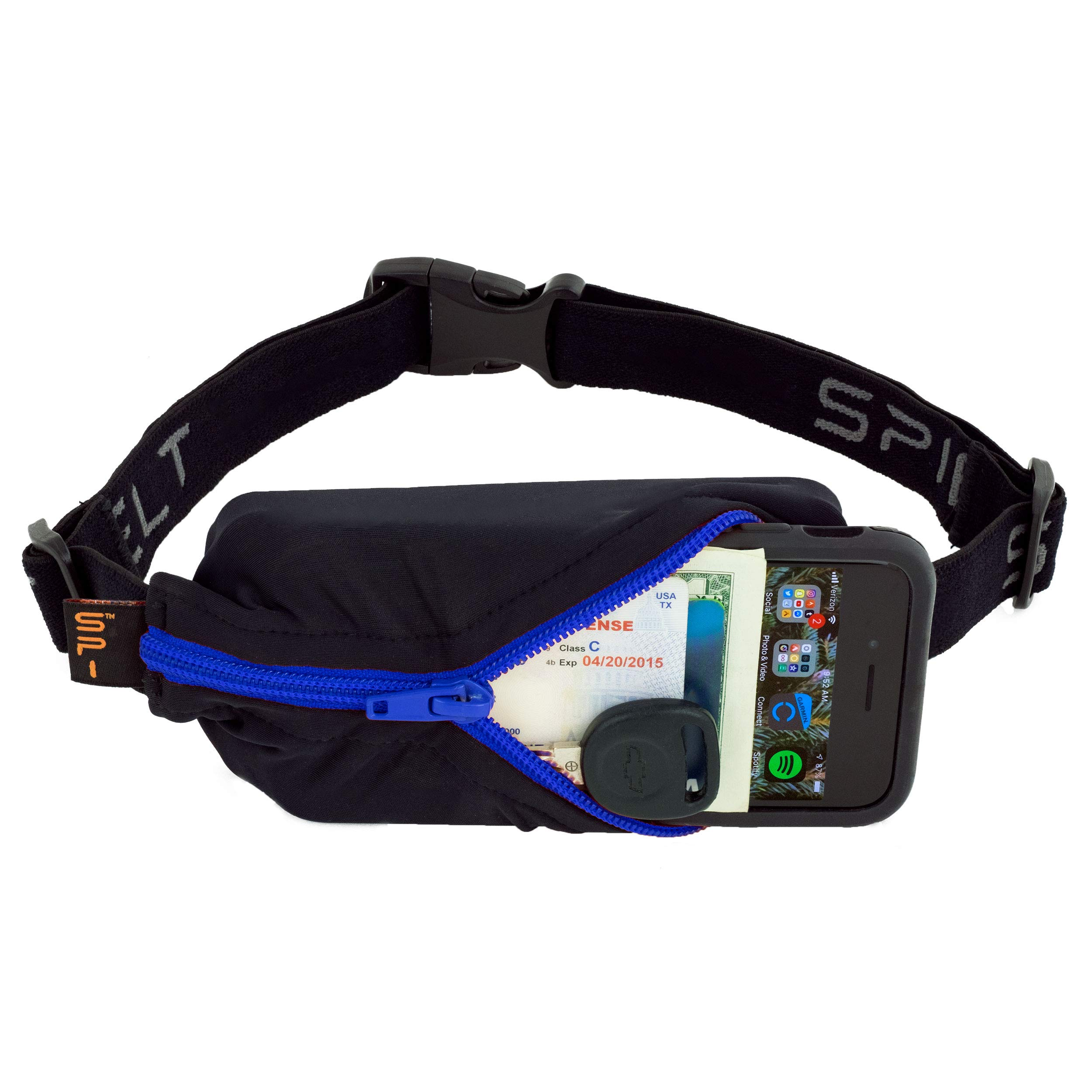 SPIbelt Sports/Running Belt: Original - No-Bounce Running Belt for Runners, Athletes and Adventurers - Fits iPhone 6 and Other Large Phones, Blue Zipper by SPIbelt